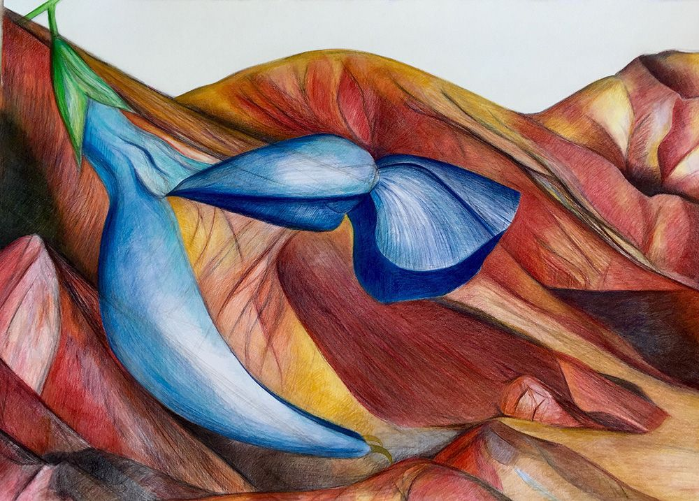 Lines Between Heaven And Earth, Colored Pencil On Paper, 70x100 Cm, 2015